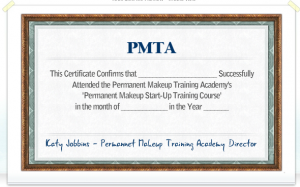Permanent Makeup Training Academy Certificate