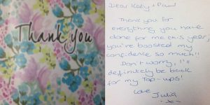 Katy Jobbins Student Thanks You Message from Julia