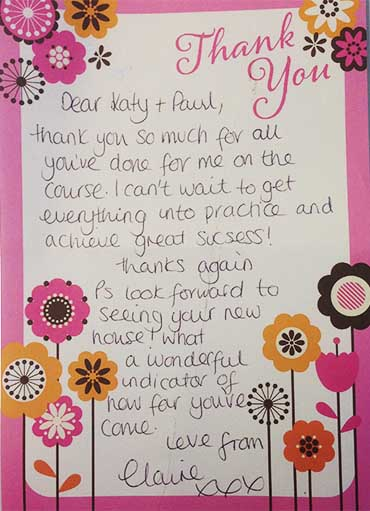 Katy Jobbins Student Thanks You Message from Claire