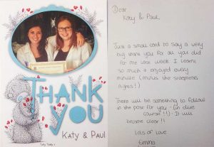 Katy Jobbins Student Thanks You Message from Emma