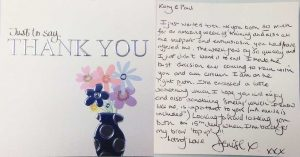 Katy Jobbins Student Thanks You Message from Denise