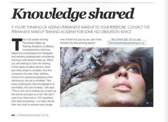 Permanent Makeup Training Academy Featured in The Salon Magazine December 2014