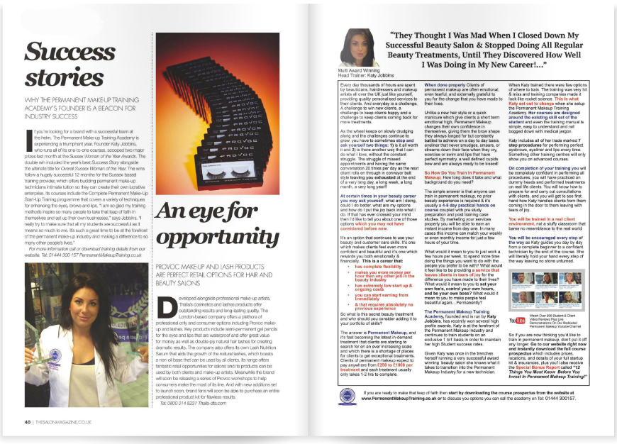 The Salon Magazine 2 Pages in September 2014 Feature on Katy Jobbins
