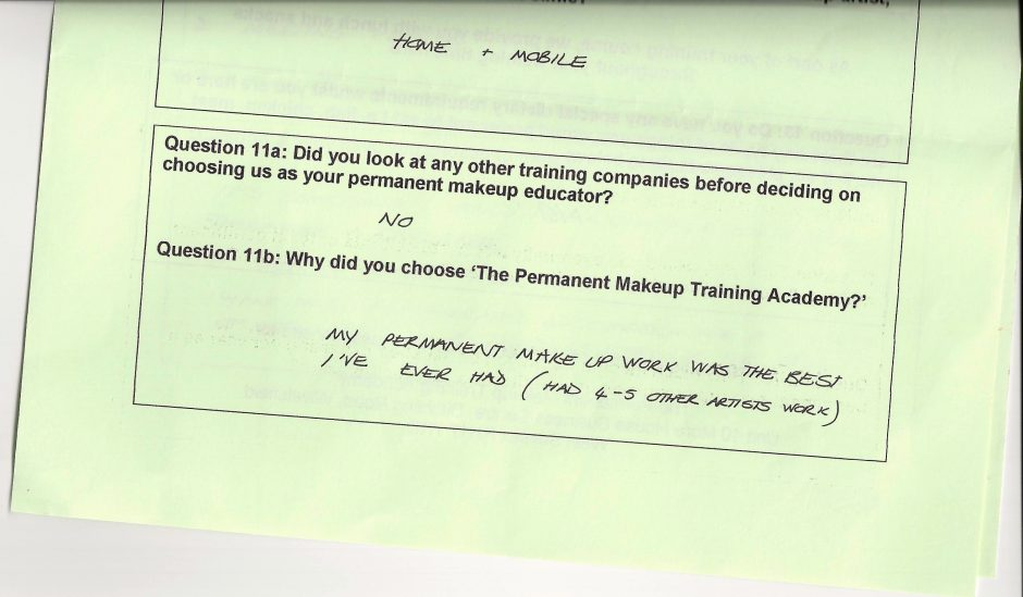 why did you choose to train with the Permanent Makeup Training Academy student review 15