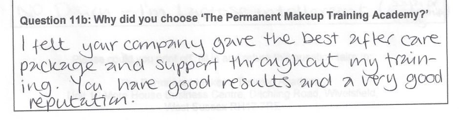why did you choose to train with the Permanent Makeup Training Academy student review 18