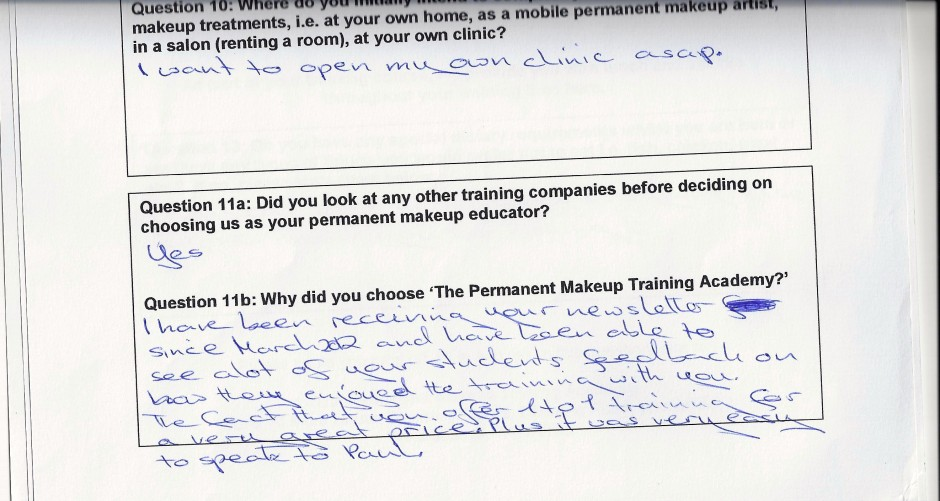 why did you choose to train with the Permanent Makeup Training Academy student review 7