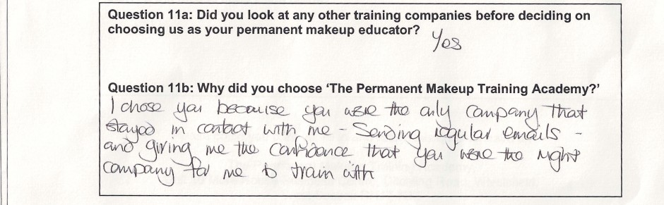why did you choose to train with the Permanent Makeup Training Academy student review 8
