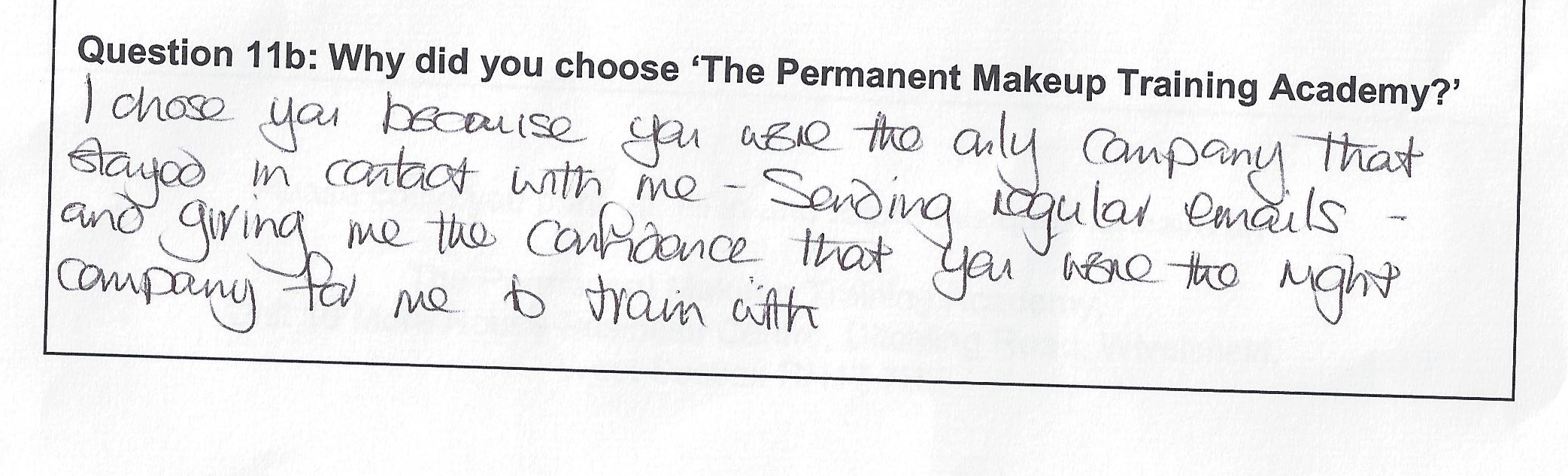 why did you choose to train with the Permanent Makeup Training Academy student review 2