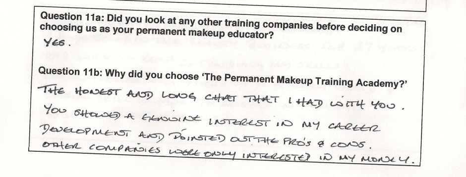 why did you choose to train with the Permanent Makeup Training Academy student review 9
