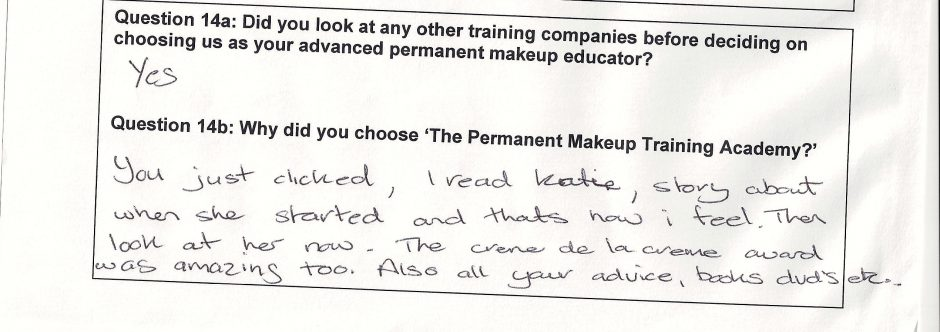 why did you choose to train with the Permanent Makeup Training Academy student review 11