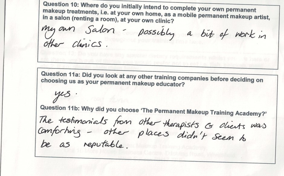 why did you choose to train with the Permanent Makeup Training Academy student review 12