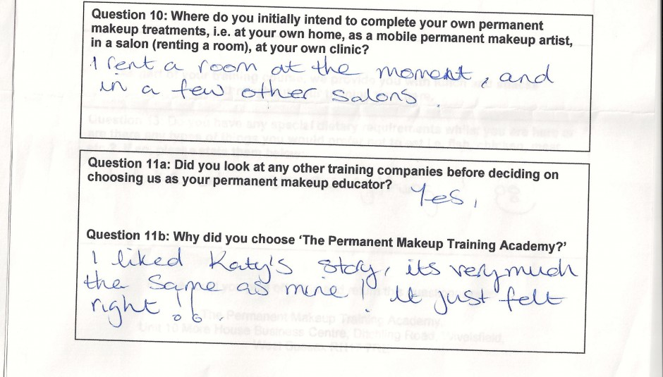 why did you choose to train with the Permanent Makeup Training Academy student review 13