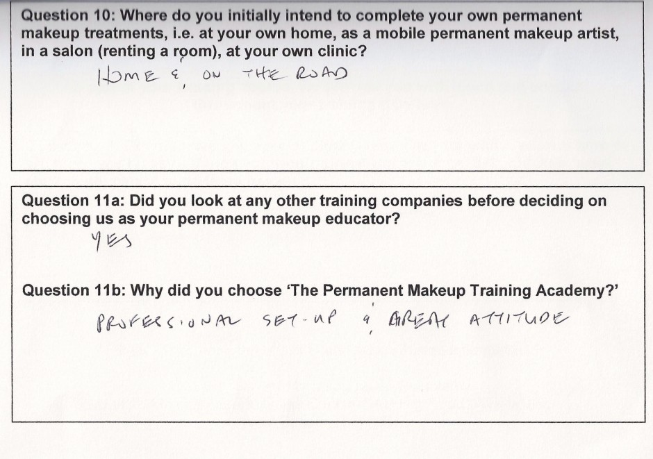 why did you choose to train with the Permanent Makeup Training Academy student review 5