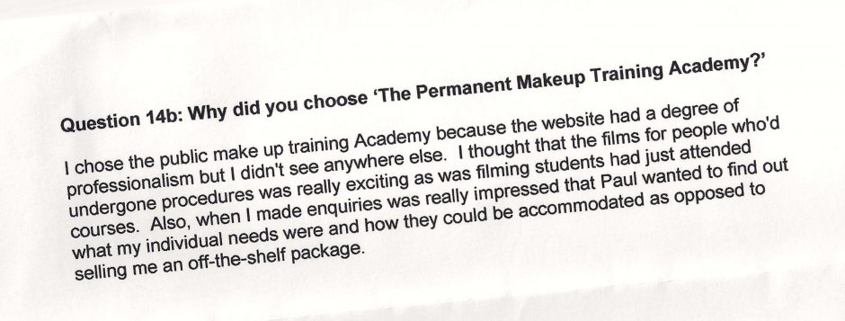 why did you choose to train with the Permanent Makeup Training Academy student review 6