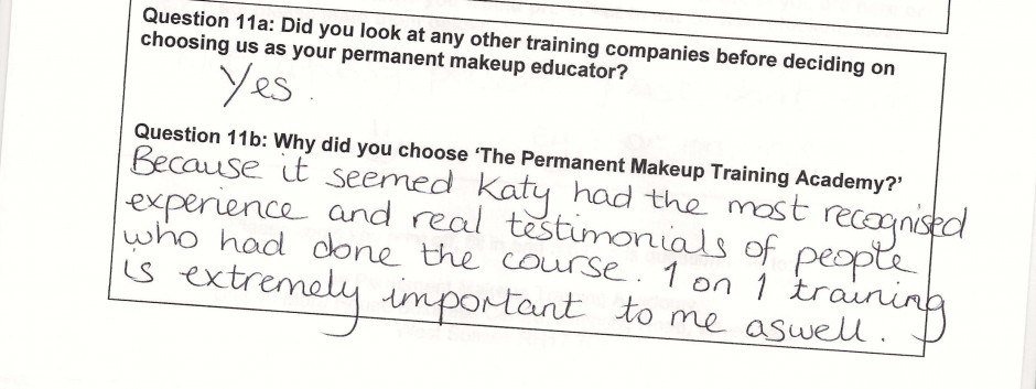 why did you choose to train with the Permanent Makeup Training Academy student review 16
