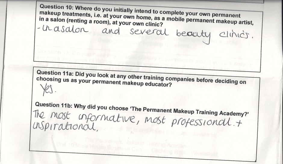 why did you choose to train with the Permanent Makeup Training Academy student review 14