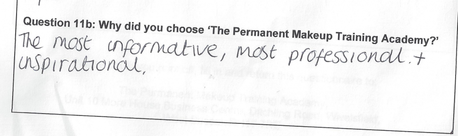 why did you choose to train with the Permanent Makeup Training Academy Student review 1