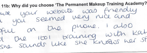 why did you choose to train with the Permanent Makeup Training Academy student review 19