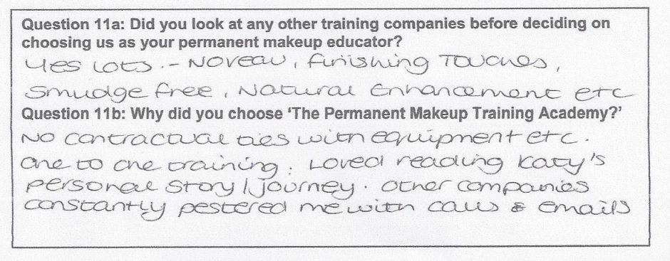why did you choose to train with the Permanent Makeup Training Academy student review 4