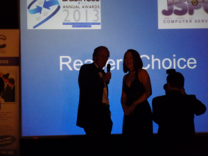 Amy Picking up Readers choice runners up award