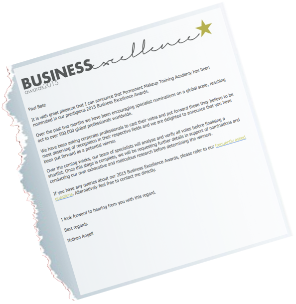 Business Excellence Nomination Letter