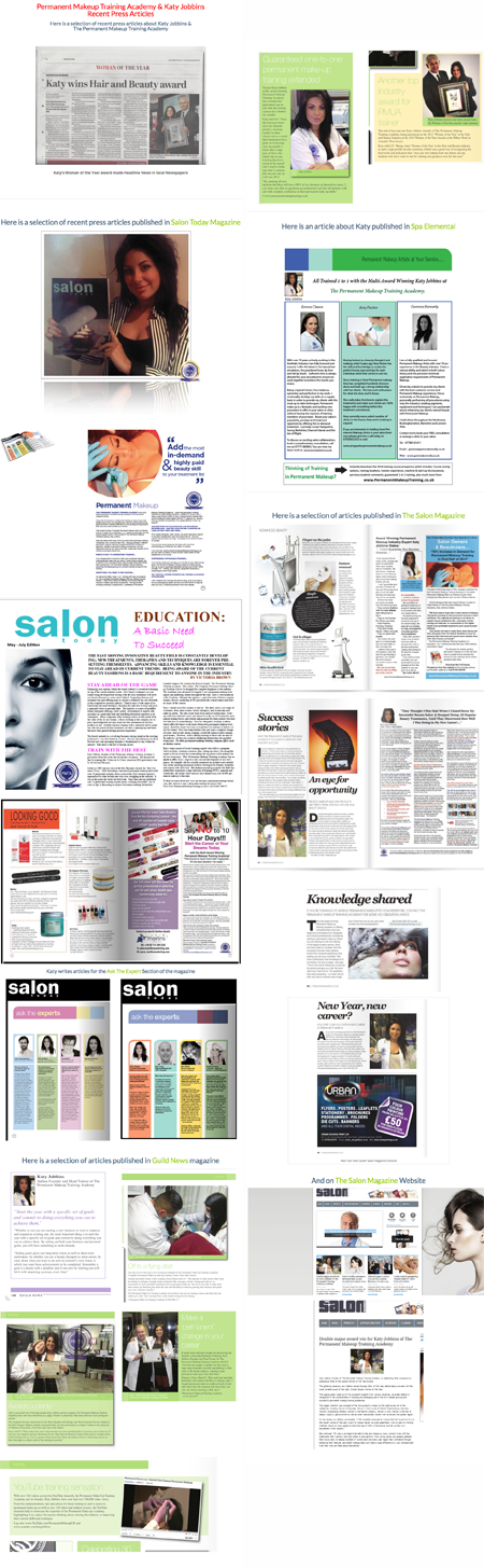 Permanent Makeup Training Academy Press Articles 2014-15