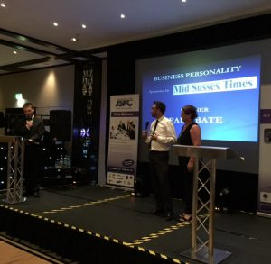 Paul Bate Accepting Business Personality of the Year Award
