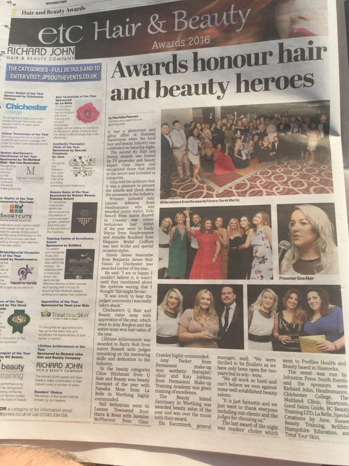 Permanent Makeup Training Academy featured in Mid Sussex Time covering Etc Hair and Beauty Awards