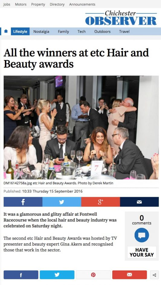 Permanent Makeup Training Centre-of-excellence-award-feature-in-chichester-observer