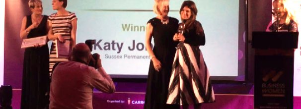 katy-recieving-entreprener-of-the-year-award-2016