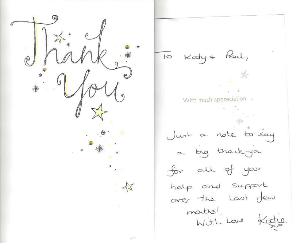 Katy Jobbins Student Thank you card messages - Permanent ...